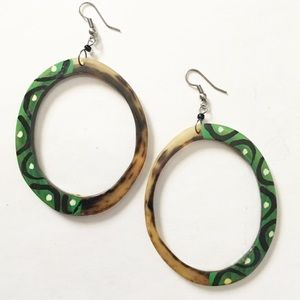 Green exotic painted large circle earrings